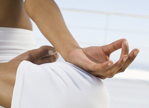 Meditating person's hand