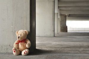 Teddy bear left behind in abandoned building