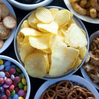 Bowls of varied snack foods