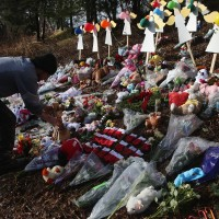 A memorial for victims of the Newtown school shooting