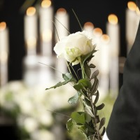Person standing with a white rose at a funeral