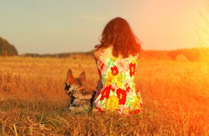 Person sits in meadow with dog at sunset