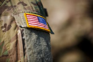 Flag patch on soldier's uniform