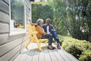 Couple on porch outside