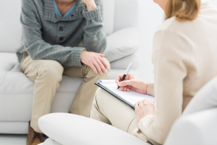 A meeting of therapist and person in therapy