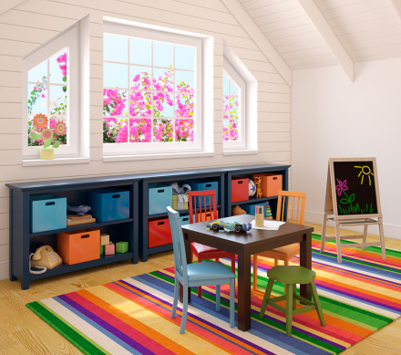Interior of brightly lit playroom