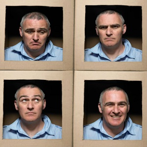 Four square panels show different expressions on the same man's face.