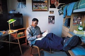 Man studying in dorm