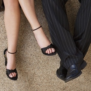 businessman and woman's feet