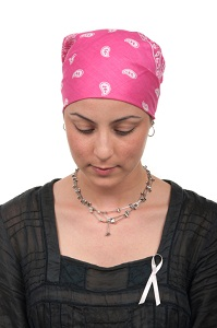 Woman with cancer ribbon