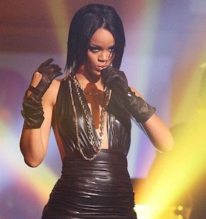 Rihanna on stage performing