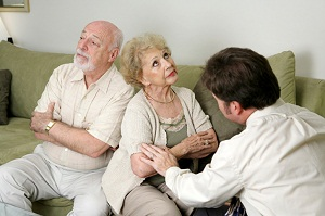 Older couple refusing to talk in therapy