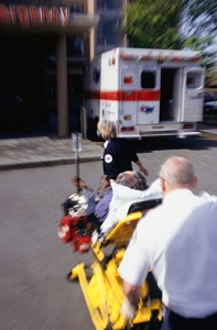 Paramedics moving patient