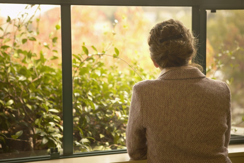 Rear view of a mid adult woman looking through a window