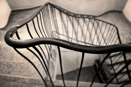 Neverending staircase in sepia tone