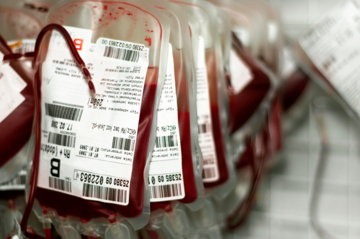 Several bags of donated blood