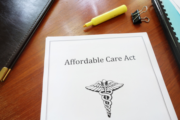 A copy of the Affordable Care Act on a desk