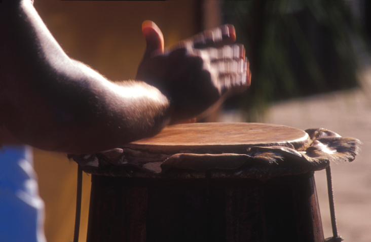 hand in motion on drum