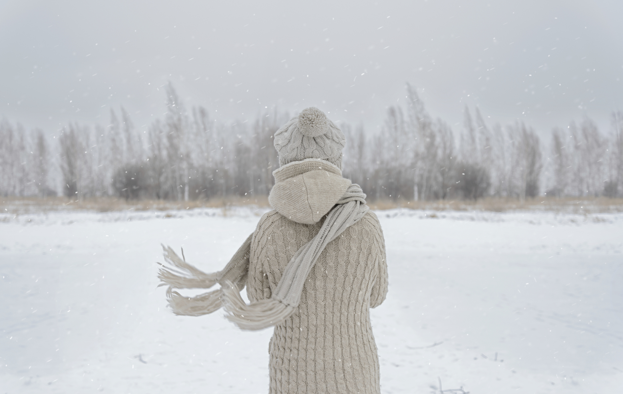 Person standing in the middle of a snowy meadow