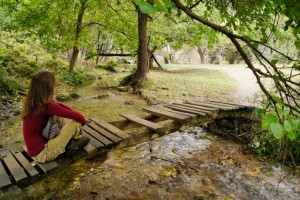 Young woman sitting on bridge in forest