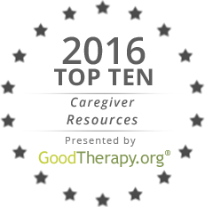 "Seal reading ""2016 Top Ten Caregiver Resources Presented by GoodTherapy.org"" surrounded by stars"