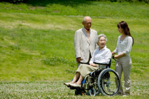 An elderly woman in a wheelchair stops in a grassy field. She is speaking with a young woman and senior man.
