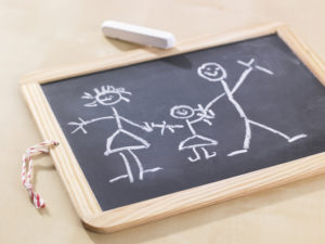 Close-up of a child's drawing on a chalkboard depicting a family