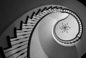 Staircase photographed to look like a Fibonacci spiral