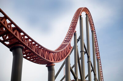 A curved roller coaster track