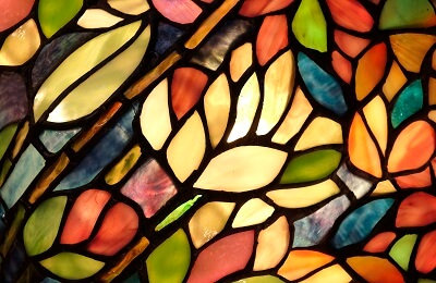 Closeup view of colorful stained glass
