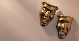 Happy and sad drama masks
