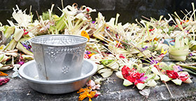 Flowers and offering bowl