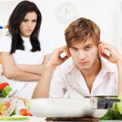 Man sits in kitchen plugging his ears while his angry wife glares