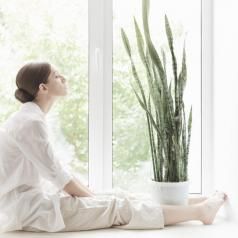 Person sitting by window looking up meditating