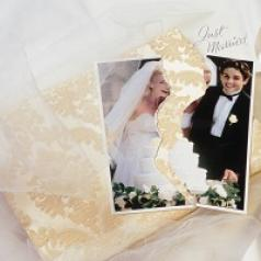 Wedding photo torn in half