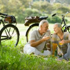 Older couple having picnic with bikes