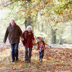 Mature couple walks along path strewn with autumn leaves holding hand of young grandchild