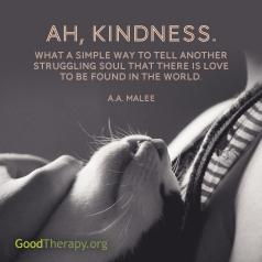 """Ah, kindness. What a simple way to tell another struggling soul that there is love to be found in the world."" -A. A. Malee"