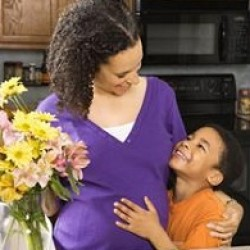 Woman and son making bouquet