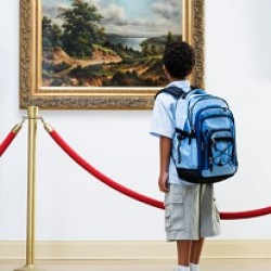 Elementary Student at Art Gallery
