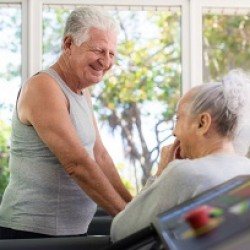 Active senior friends working out