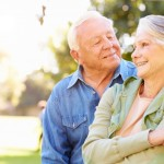 aging couple being flirtatious